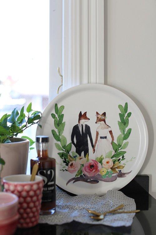 Wedding Animals Bricka Räv